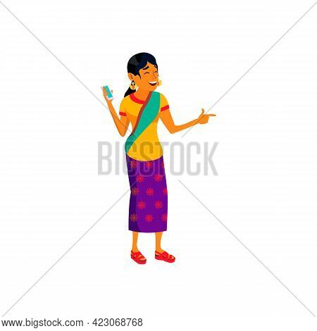 Happy Indian Woman Listening Music On Smartphone Cartoon Vector. Happy Indian Woman Listening Music