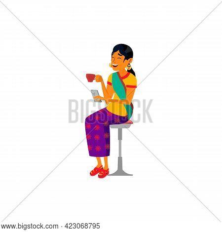 Indian Woman Coffee Break And Watching Video On Smartphone Display Cartoon Vector. Indian Woman Coff