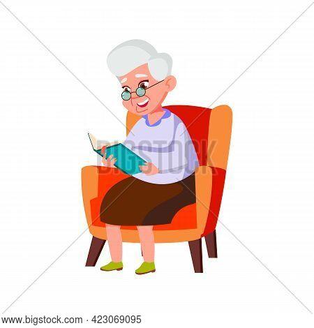 Happy Elderly Lady Sitting In Living Room Armchair And Reading Interesting Book Cartoon Vector. Happ