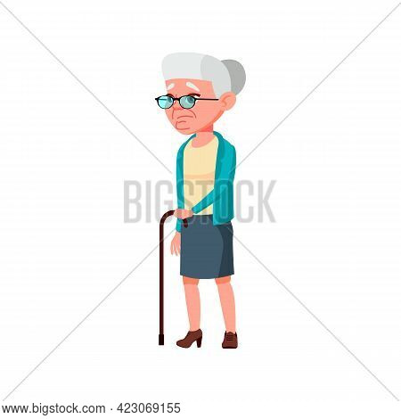 Old Lady With Walking Problem On Street Cartoon Vector. Old Lady With Walking Problem On Street Char