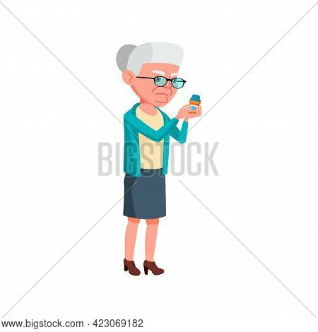 Mature Lady Reading Pills Content Cartoon Vector. Mature Lady Reading Pills Content Character. Isola