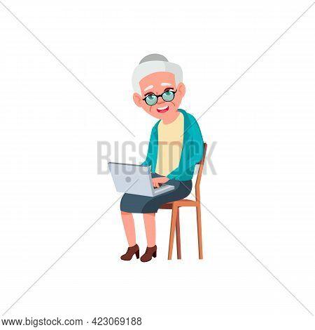 Elderly Lady Order Medicaments Online On Laptop Cartoon Vector. Elderly Lady Order Medicaments Onlin