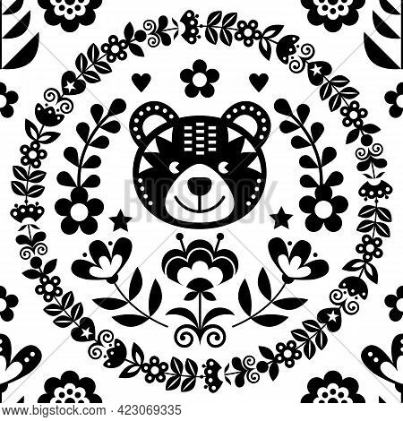 Scandinavian Seamless Vector Folk Art Pattern With Bear, Flowers And Wreath, Nordic Black And White