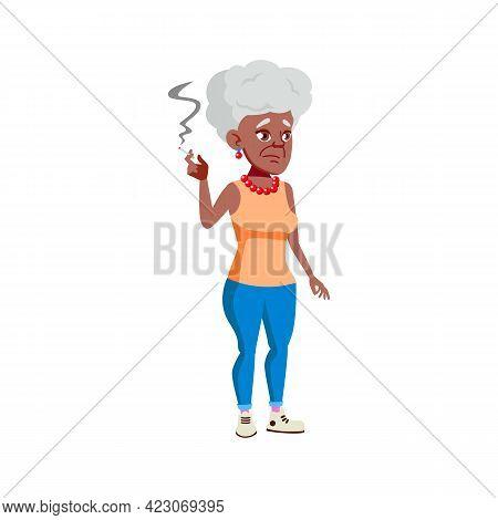 African Elderly Woman Smoking Cigarette On Street Cartoon Vector. African Elderly Woman Smoking Ciga