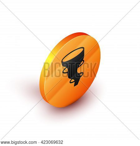 Isometric Tornado Icon Isolated On White Background. Orange Circle Button. Vector