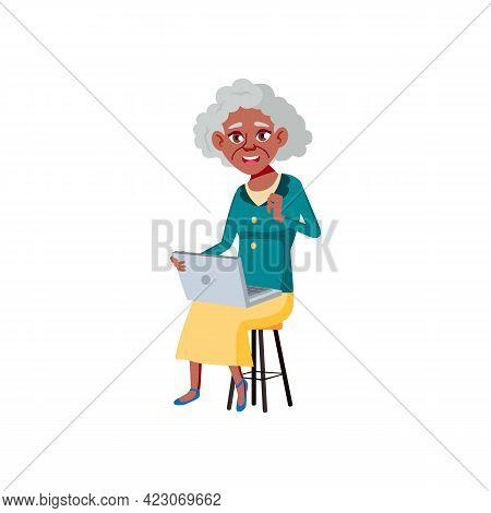 Elderly African Woman Surfing In Internet On Computer Cartoon Vector. Elderly African Woman Surfing