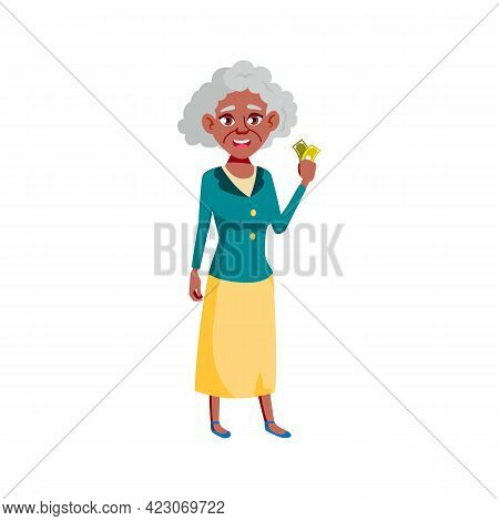 Happy African Woman Senior Holding Tickets To Theater Cartoon Vector. Happy African Woman Senior Hol