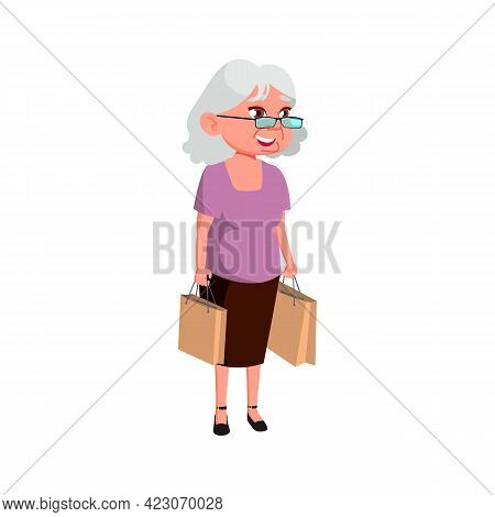 Mature Age Woman Buying Products On Market Place Cartoon Vector. Mature Age Woman Buying Products On