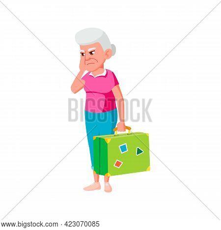 Sadness Old Woman With Luggage Waiting Bus Cartoon Vector. Sadness Old Woman With Luggage Waiting Bu