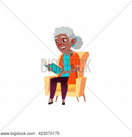 Old African Lady Sitting On Armchair And Reading Interesting Book Cartoon Vector. Old African Lady S