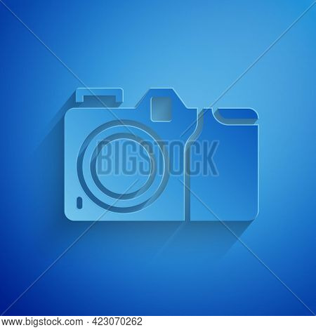 Paper Cut Photo Camera Icon Isolated On Blue Background. Foto Camera Icon. Paper Art Style. Vector