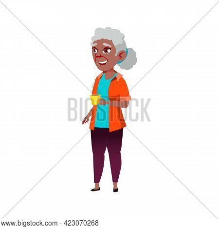 Happy Mature Age Woman Drinking Hot Chocolate On Backyard Cartoon Vector. Happy Mature Age Woman Dri