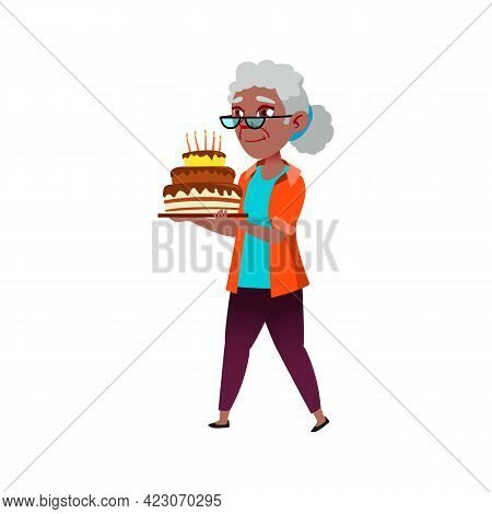 Old African Lady Carrying Birthday Cake On Party Cartoon Vector. Old African Lady Carrying Birthday