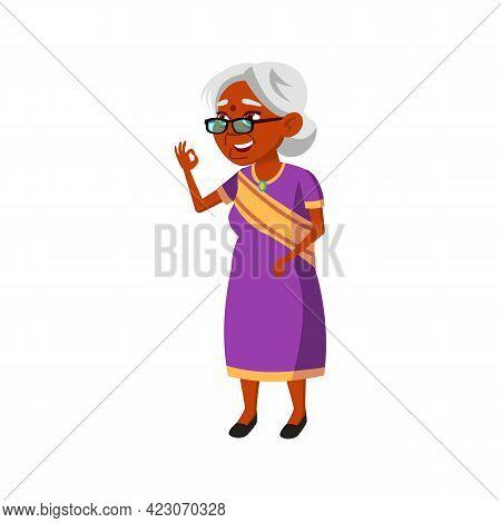 Old Indian Woman Gesturing Ok To Grandchildren In Park Cartoon Vector. Old Indian Woman Gesturing Ok