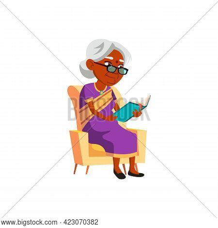 Mature Age India Woman Reading Recipe Book In Living Room Chair Cartoon Vector. Mature Age India Wom
