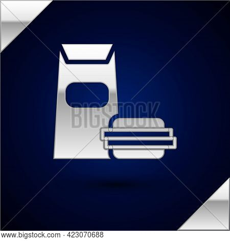 Silver Burger Icon Isolated On Dark Blue Background. Hamburger Icon. Cheeseburger Sandwich Sign. Fas