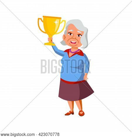 Old Woman Holding Award Won In Competition Cartoon Vector. Old Woman Holding Award Won In Competitio