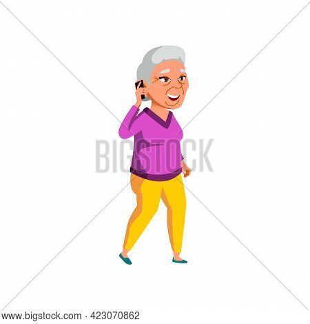 Grandmother Speaking With Family On Phone Cartoon Vector. Grandmother Speaking With Family On Phone