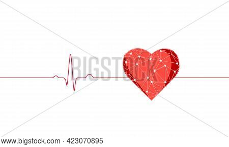 Healthy Human Heart Beats 3d Medicine Model Low Poly. Triangle Connected Dots Glow Point Red Backgro
