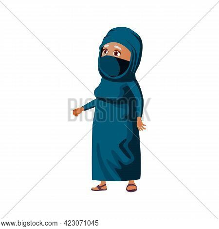 Elderly Islamic Woman In Hijab Looking With Wide Opened Eyes On Mosque Cartoon Vector. Elderly Islam