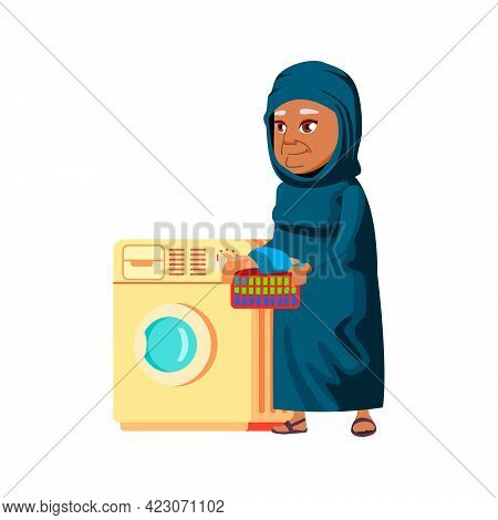 Islamic Aged Woman Washing Clothes In Laundry Machine Cartoon Vector. Islamic Aged Woman Washing Clo