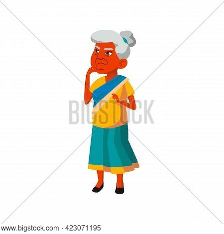 Thoughtful Old Lady Think About Problem Cartoon Vector. Thoughtful Old Lady Think About Problem Char