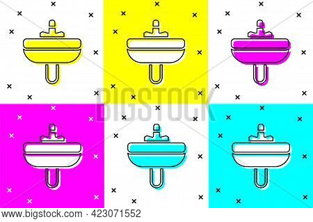 Set Washbasin With Water Tap Icon Isolated On Color Background. Vector