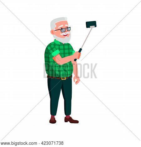 Old Man Make Selfie On Smartphone Camera On Stick Cartoon Vector. Old Man Make Selfie On Smartphone