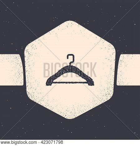 Grunge Hanger Wardrobe Icon Isolated On Grey Background. Cloakroom Icon. Clothes Service Symbol. Lau