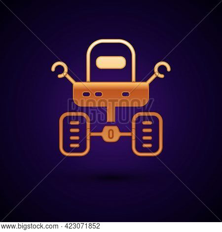 Gold Mars Rover Icon Isolated On Black Background. Space Rover. Moonwalker Sign. Apparatus For Study