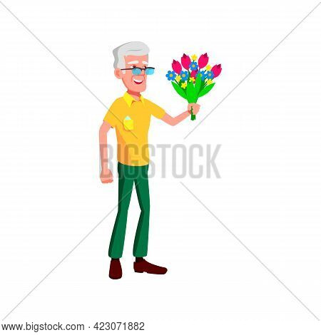 Old Man Giving Flower Bouquet To Granny On Date Cartoon Vector. Old Man Giving Flower Bouquet To Gra