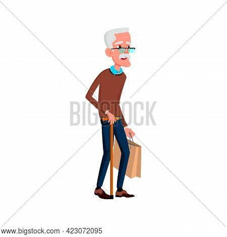 Old Man Walking With Stick In Mall Cartoon Vector. Old Man Walking With Stick In Mall Character. Iso