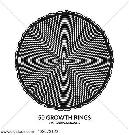 50 Growth Rings. Tree Rings And Saw Cut Tree Trunk. Can Be Used As 50th Anniversary Concept. Vector