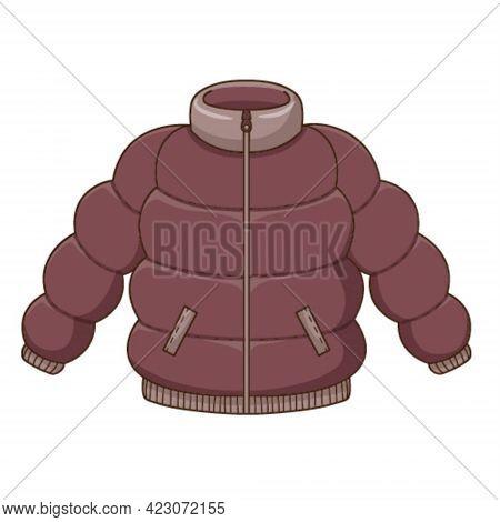 Down Jacket. Autumn Outerwear. Design Element With Outline. Autumn Theme. Doodle, Hand-drawn. Flat D