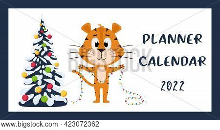 The Cover Of The Horizontal Desktop Calendar For 2022. The Symbol Of The Year In The Chinese Calenda