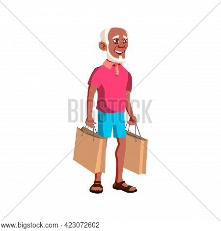 African Old Man Shopping In Mall Cartoon Vector. African Old Man Shopping In Mall Character. Isolate