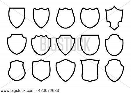 Military Or Heraldic Shield And Coat Of Arms Blank Icons. Police Badge Outline Set