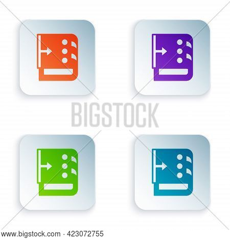 Color Sound Mixer Controller Icon Isolated On White Background. Dj Equipment Slider Buttons. Mixing