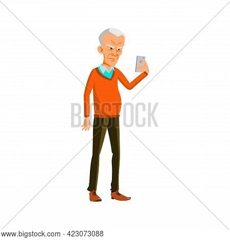 Mad Grandfather Reading E-mail On Smartphone Cartoon Vector. Mad Grandfather Reading E-mail On Smart