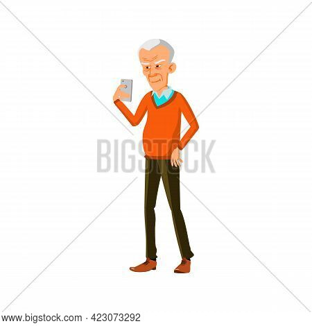 Mature Age Man Playing On Smartphone Cartoon Vector. Mature Age Man Playing On Smartphone Character.