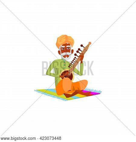 Indian Man Pensioner Playing On Sitar Cartoon Vector. Indian Man Pensioner Playing On Sitar Characte