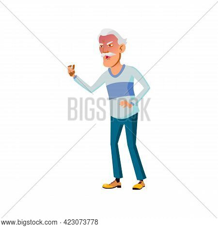 Mad Asian Man Pensioner Shouting At Driver On Road Cartoon Vector. Mad Asian Man Pensioner Shouting