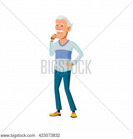 Japanese Aged Guy Looking With Love At Granny Cartoon Vector. Japanese Aged Guy Looking With Love At