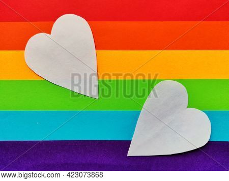 Rainbow Heart, Heart Icon, Lgbt Color . Symbol Of Homosexual Love. Lgbt Community Sign
