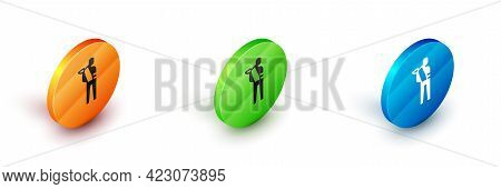 Isometric Human Broken Arm Icon Isolated On White Background. Injured Man In Bandage. Circle Button.
