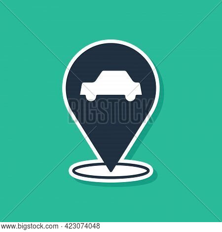 Blue Location With Car Service Icon Isolated On Green Background. Auto Mechanic Service. Repair Serv