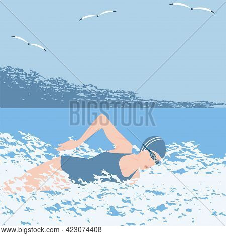 Swimmer. Seascape In Grunge Style - Vector. Active Sports.