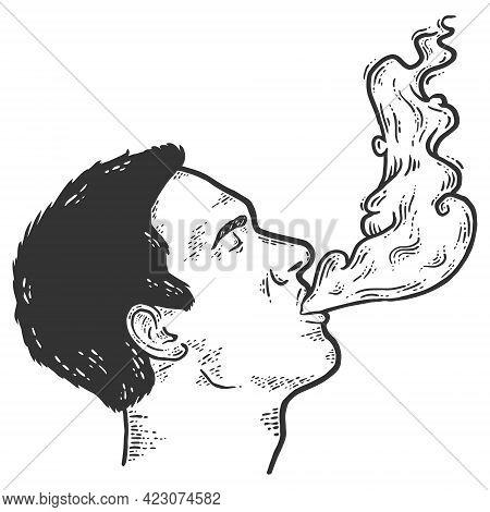 Man Exhales Smoke. Sketch Scratch Board Imitation Color.