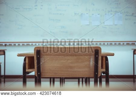 Lecture Room Or School Empty Classroom With Desks And Chair Iron Wood For Studying Lessons In High S
