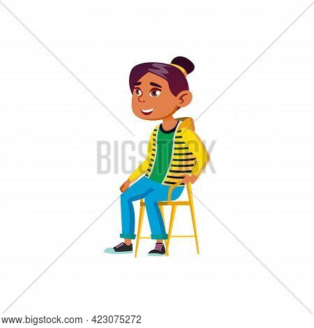 Smiling Girl Listening Lesson On Chair Cartoon Vector. Smiling Girl Listening Lesson On Chair Charac